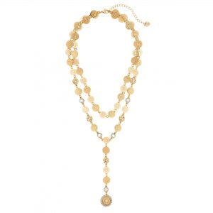 Lipsy Gold Filigree 2 Row Y Drop Necklace