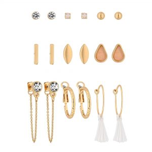MOOD By Jon Richard Gold Plated Clear 9 Pack Stud Earring
