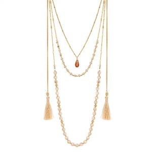 MOOD By Jon Richard Gold Plated Clear Bead And Tassel Multi-Row Necklace