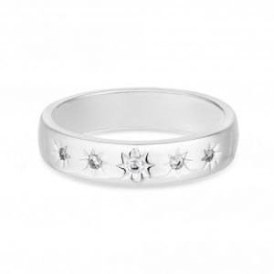 Simply Silver Sterling Silver 925 White Cubic Zirconia Star Sized Ring