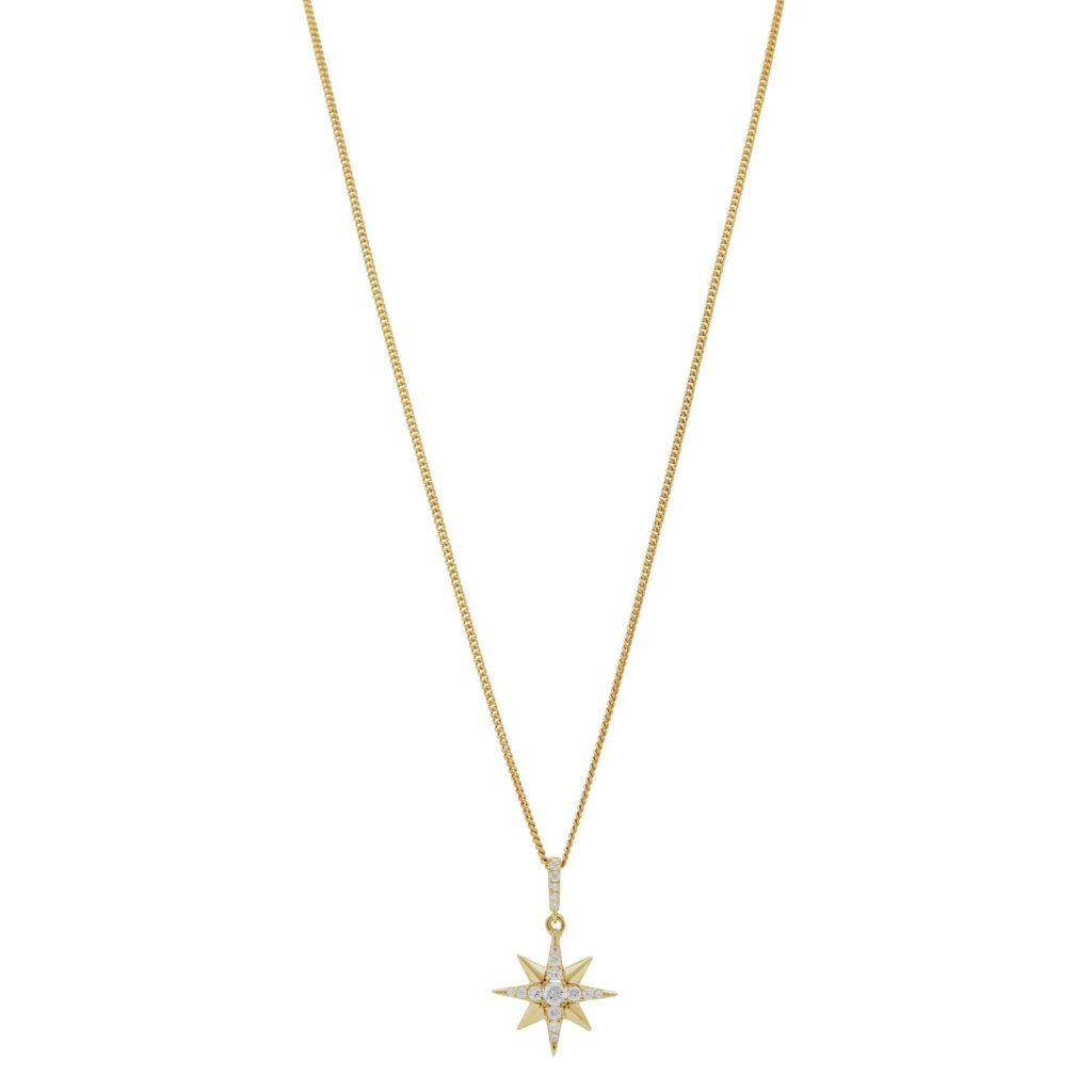 Simply Silver 14ct Gold Plated Sterling Silver Star Pendant Necklace