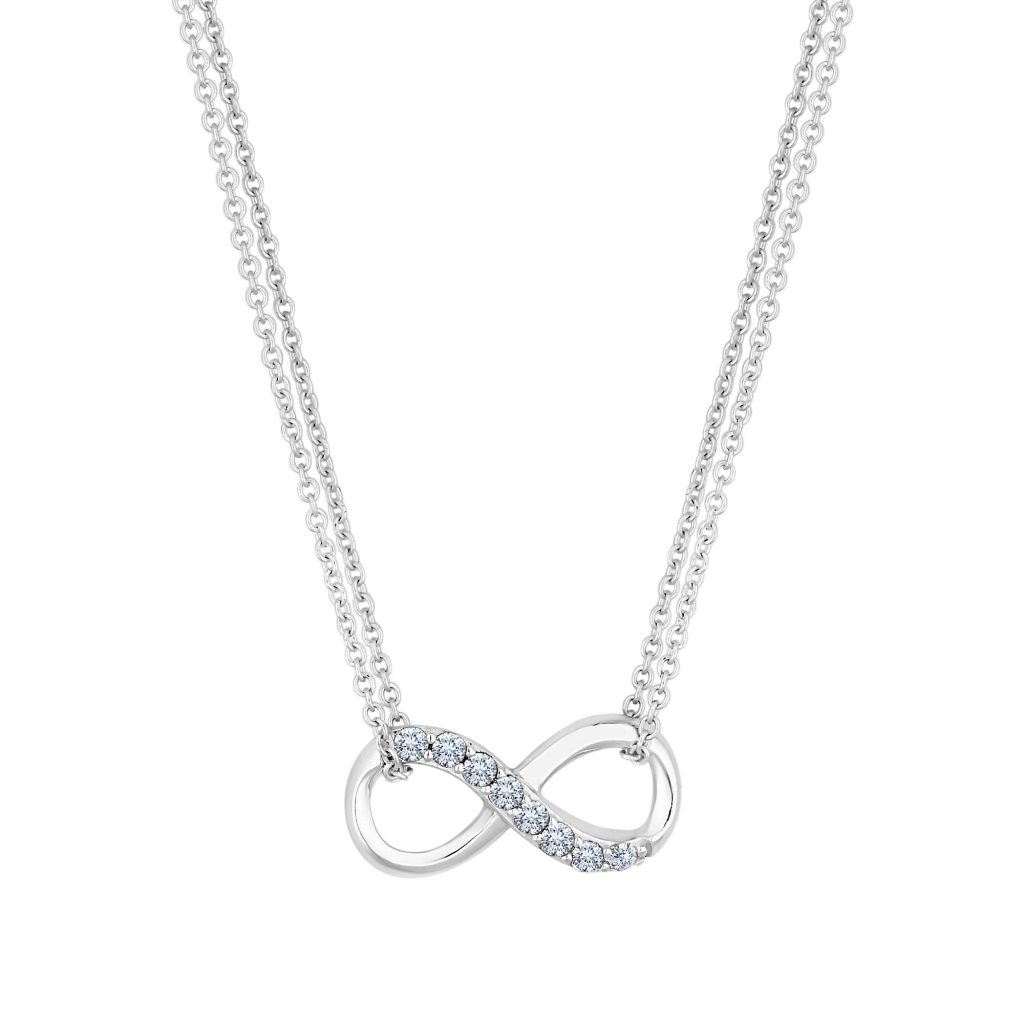 Simply Silver Double Chain Cubic Zirconia Infinity Necklace