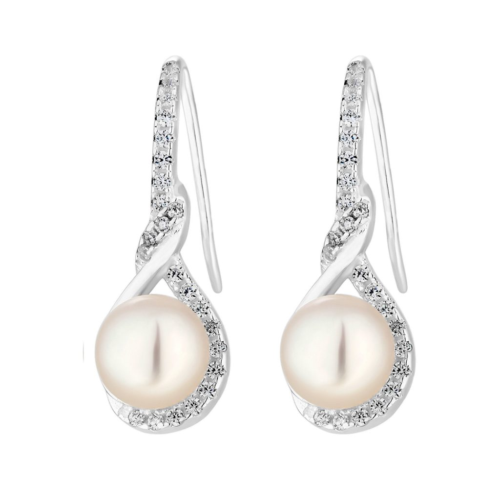 Simply Silver Sterling Silver 925 Freshwater Pearl and Cubic Zirconia Twist Infinity Earrings