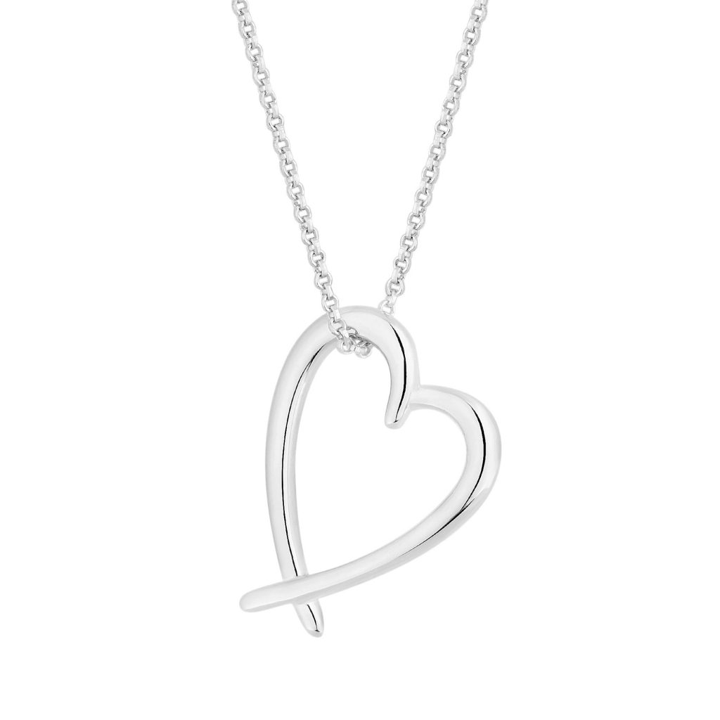 Simply Silver Sterling Silver 925 Open Heart Pendant Necklace