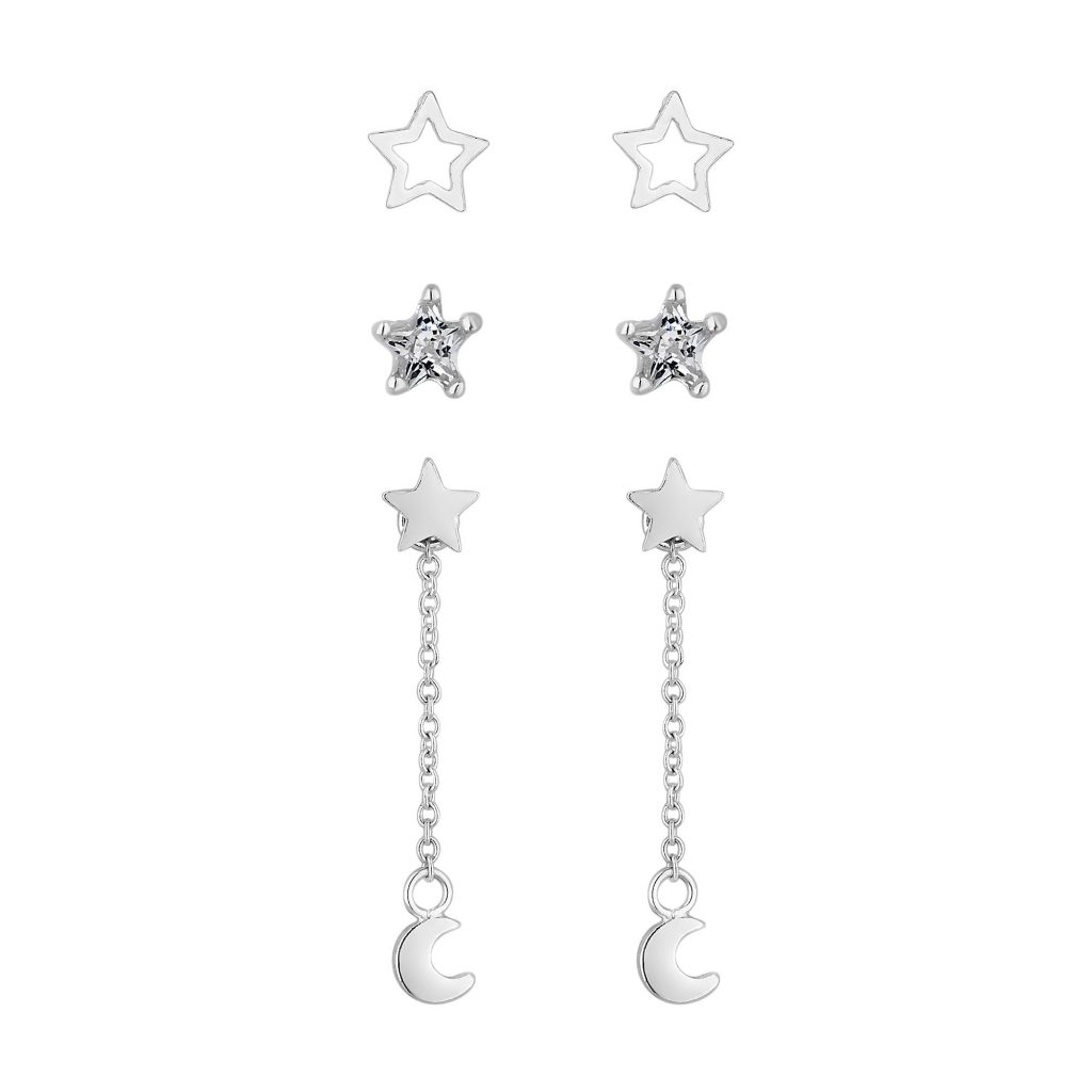 Simply Silver Sterling Silver 925 Shooting Star Drop Earrings - Pack Of 3