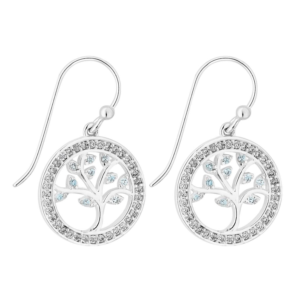 Simply Silver Sterling Silver 925 Tree Of Life Blue Drop Earrings Embellished With Swarovski® Crystals