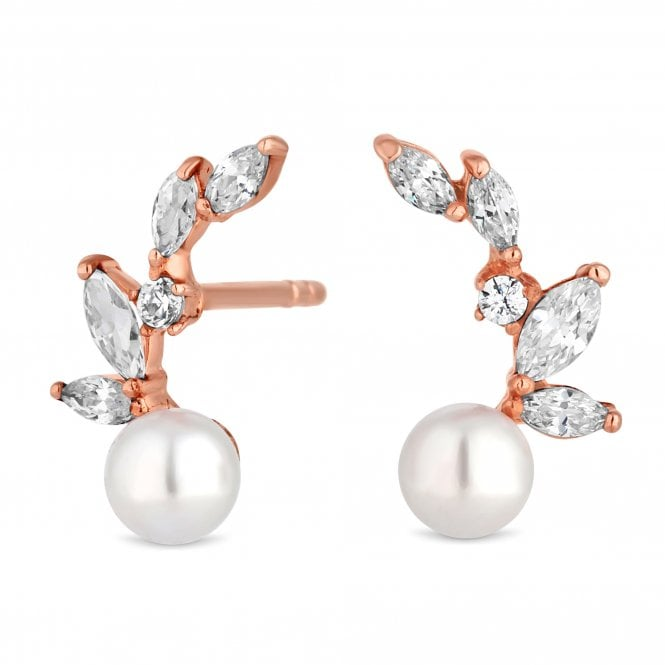 14ct Rose Gold Plated Sterling Silver Cubic Zirconia And Pearl Stud Earring