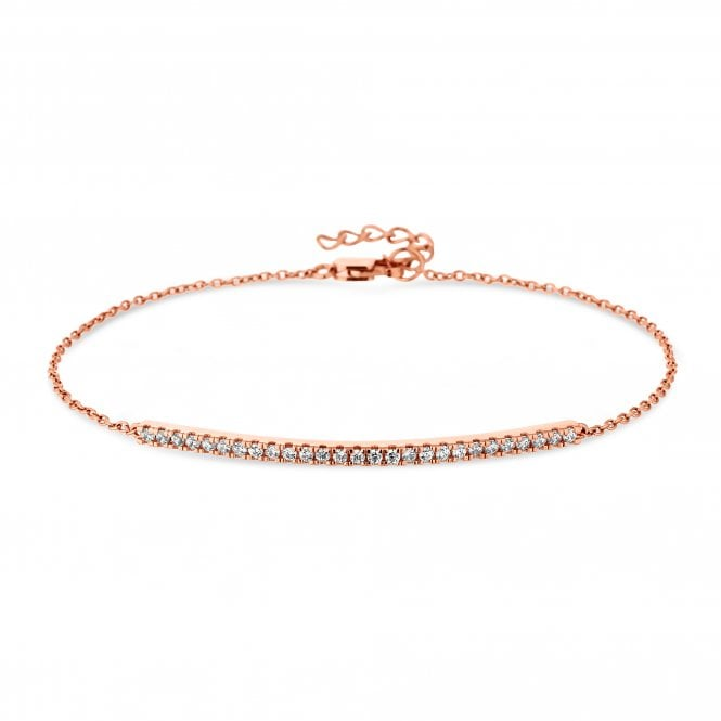 14ct Rose Gold Plated Sterling Silver Cubic Zirconia Bar Bracelet