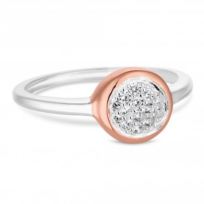 14ct Rose Gold Plated Sterling Silver Cubic Zirconia Encrusted Ring