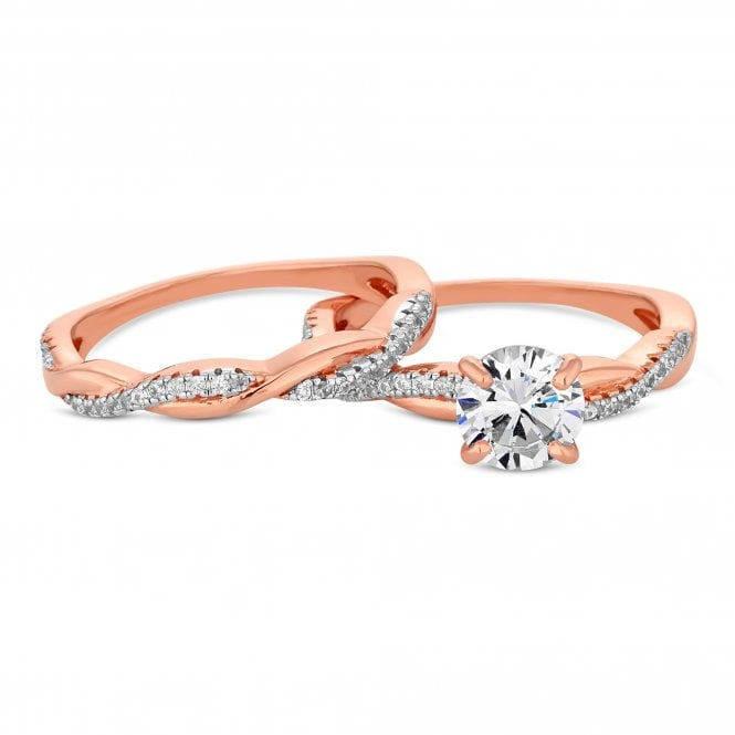 14ct Rose Gold Plated Sterling Silver Cubic Zirconia Infinity Ring Set