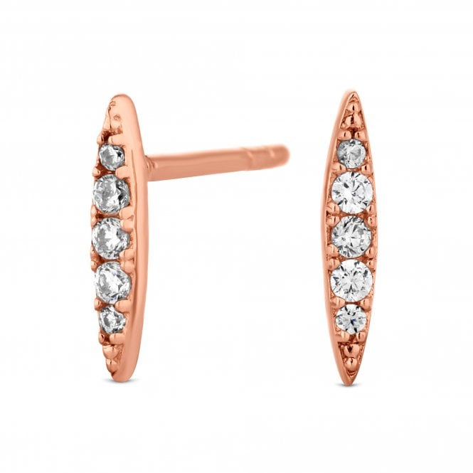 14ct Rose Gold Plated Sterling Silver Cubic Zirconia Pointed Stud Earring