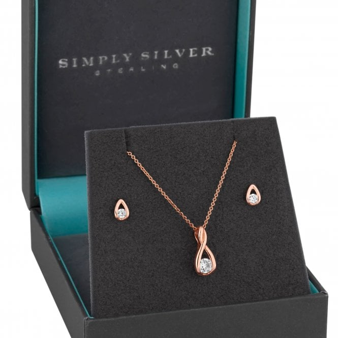 14ct Rose Gold Plated Sterling Silver Cubic Zirconia Swirl Jewellery Set