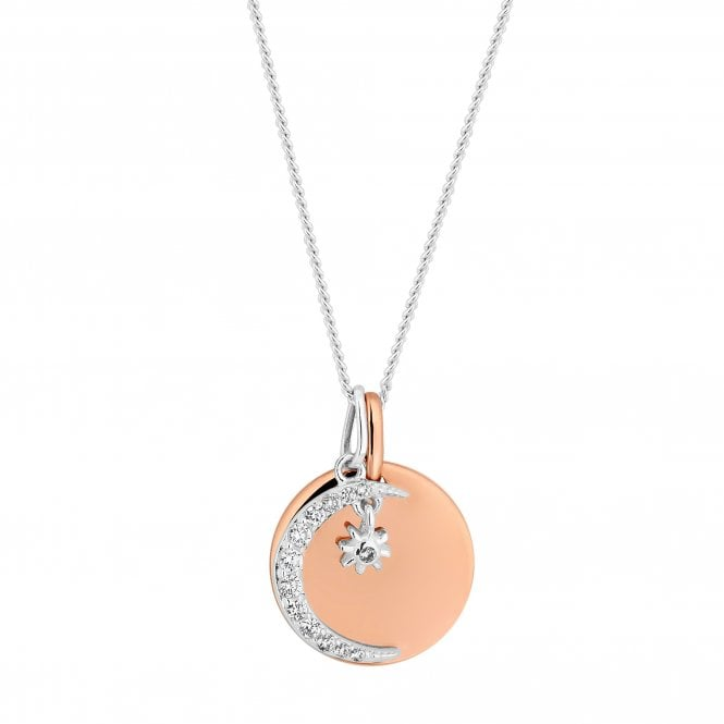 14ct Rose Gold Plated Sterling Silver Disc And Moon Charm Necklace