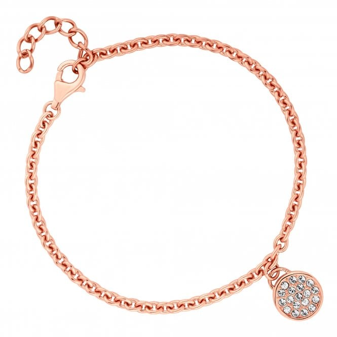 14ct Rose Gold Plated Sterling Silver Disc Bracelet Embellished With Swarovski Crystals