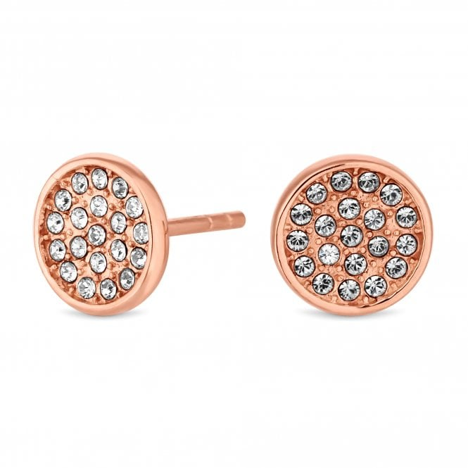 14ct Rose Gold Plated Sterling Silver Disc Earring Embellished With Swarovski Crystals