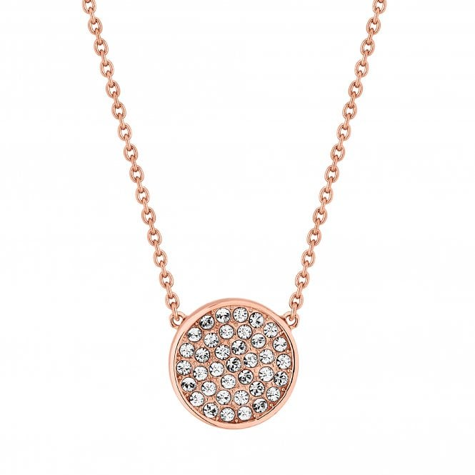 14ct Rose Gold Plated Sterling Silver Disc Necklace Embellished With Swarovski Crystals