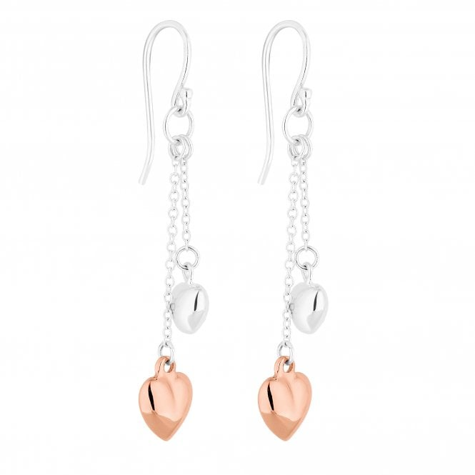14ct Rose Gold Plated Sterling Silver Double Heart Drop Earring