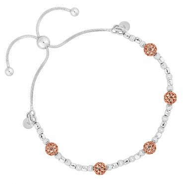 14ct Rose Gold Plated Sterling Silver Filigree Bead Toggle Bracelet