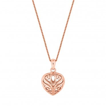 14ct Rose Gold Plated Sterling Silver Filigree Heart Pendant Necklace
