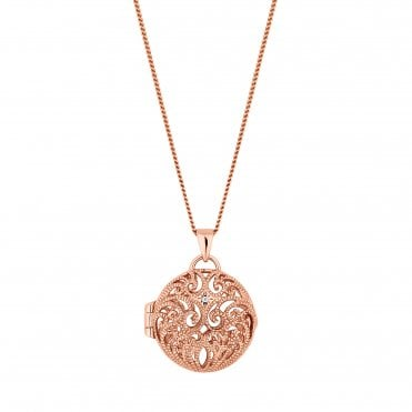 14ct Rose Gold Plated Sterling Silver Filigree Locket Pendant Necklace