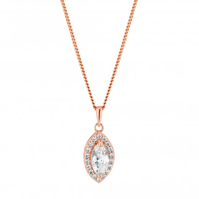 14ct Rose Gold Plated Sterling Silver Halo Pendant Necklace