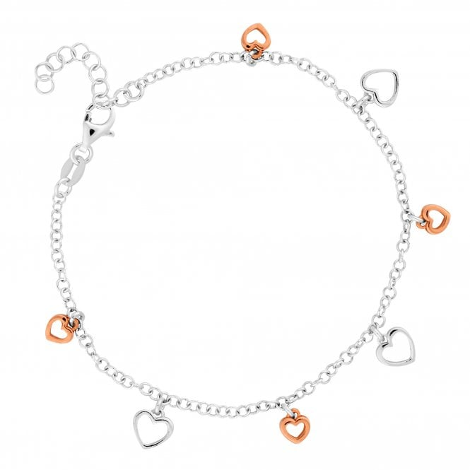 14ct Rose Gold Plated Sterling Silver Heart Charm Bracelet