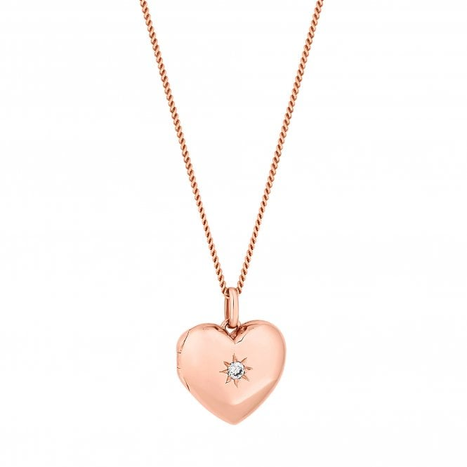 14ct Rose Gold Plated Sterling Silver Heart Locket Pendant Necklace
