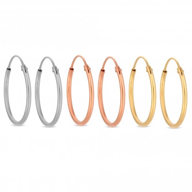 14ct Rose Gold Plated Sterling Silver Hoop Earring Set