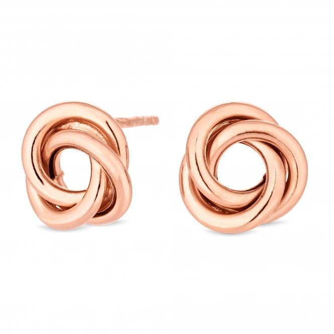 14ct Rose Gold Plated Sterling Silver Knot Stud Earring