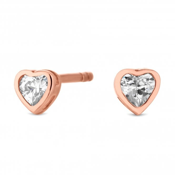 14ct Rose Gold Plated Sterling Silver Mini Heart Stud Earring