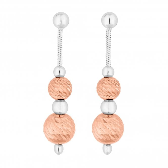 14ct Rose Gold Plated Sterling Silver Orb Drop Earring