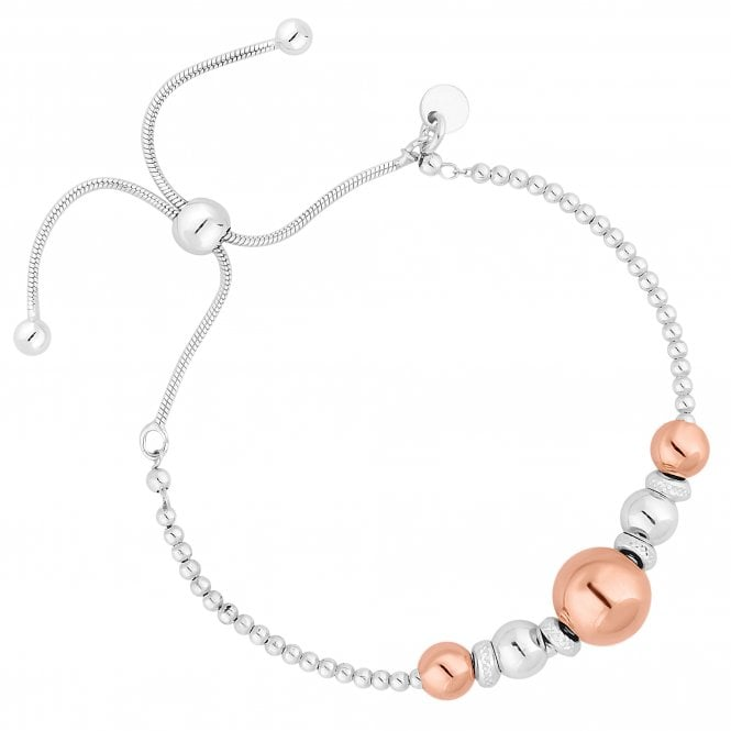 14ct Rose Gold Plated Sterling Silver Orb Toggle Bracelet