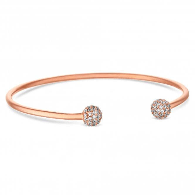 14ct Rose Gold Plated Sterling Silver Pave Ball Bangle