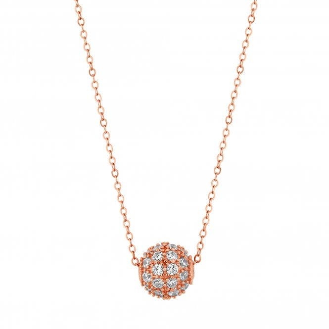 14ct Rose Gold Plated Sterling Silver Pave Ball Pendant Necklace