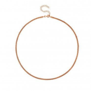 14ct Rose Gold Plated Sterling Silver Popcorn Chain Necklace