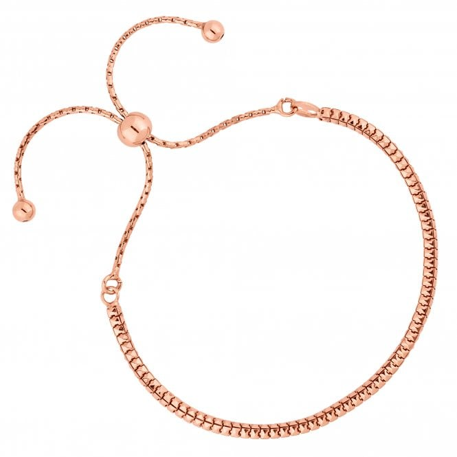 14ct Rose Gold Plated Sterling Silver Slinky Toggle Bracelet