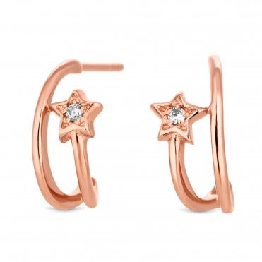 14ct Rose Gold Plated Sterling Silver Star Earring