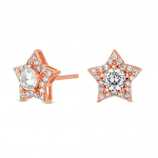 14ct Rose Gold Plated Sterling Silver Star Stud Earring