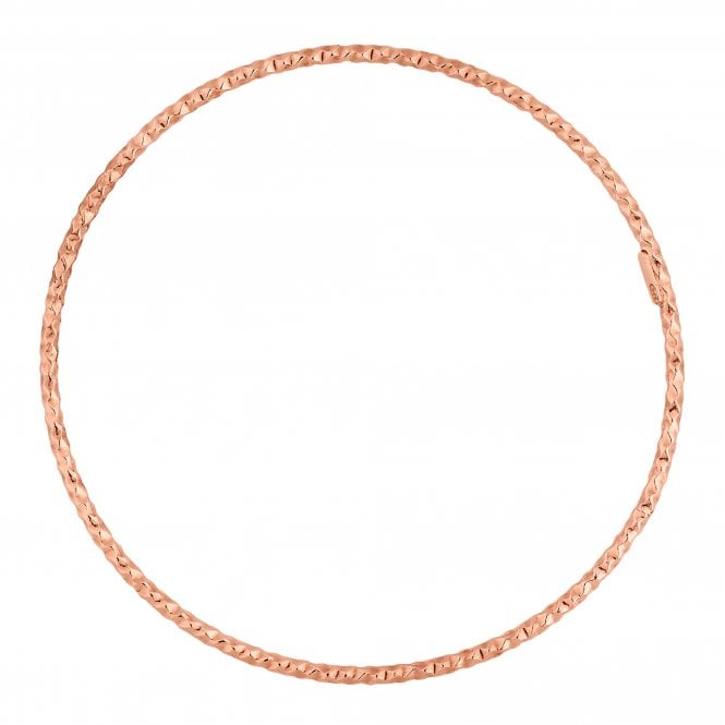 14ct Rose Gold Plated Sterling Silver Textured Bangle