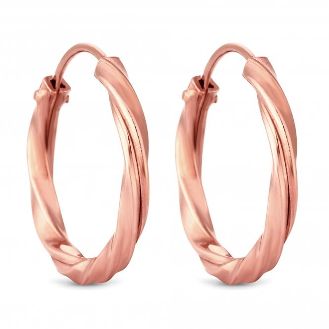 14ct Rose Gold Plated Sterling Silver Twist Hoop Earring