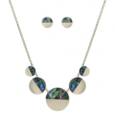 Abalone inspired half disc jewellery set