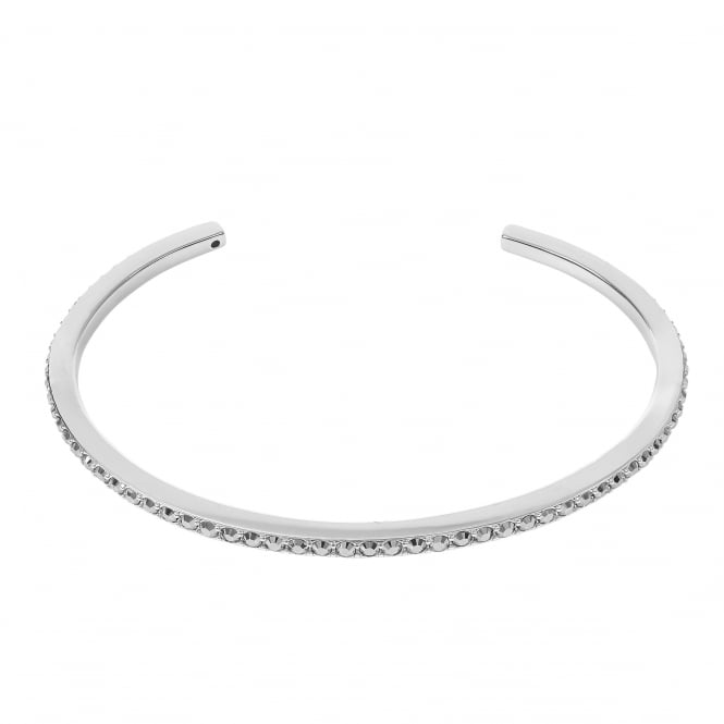 Silver Bar Cuff Bangle Created With Swarovski Crystals