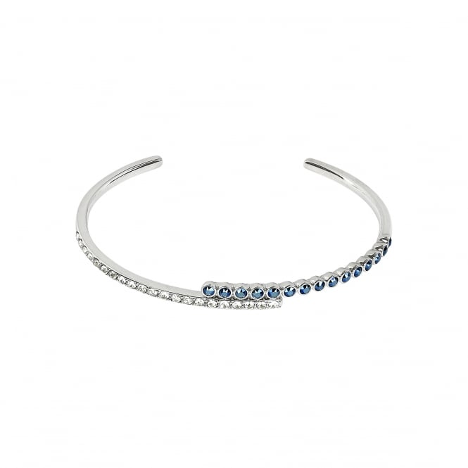 Silver Curved Bar White / Blue Cuff Bracelet Created With Swarovski Crystals