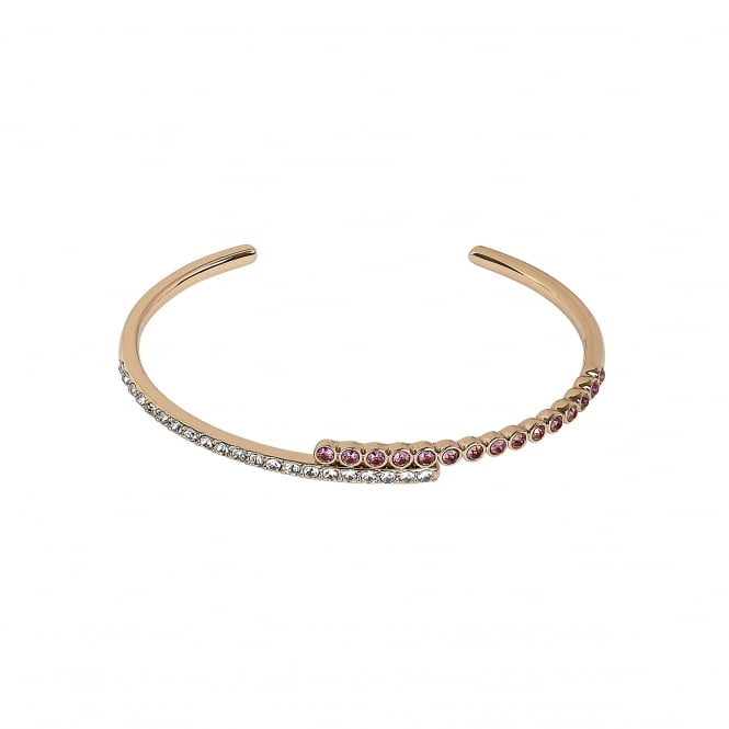 Gold Curved Bar White / Pink Cuff Bracelet Created With Swarovski Crystals