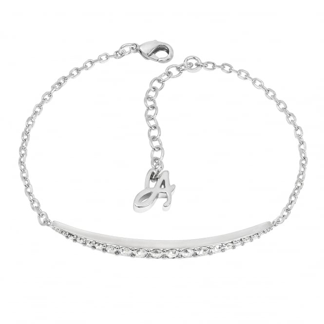 Silver Curved Bar Bracelet Created With Swarovski Crystals
