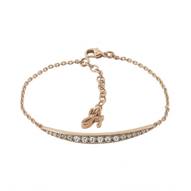 Gold Curved Bar Bracelet Created With Swarovski Crystals