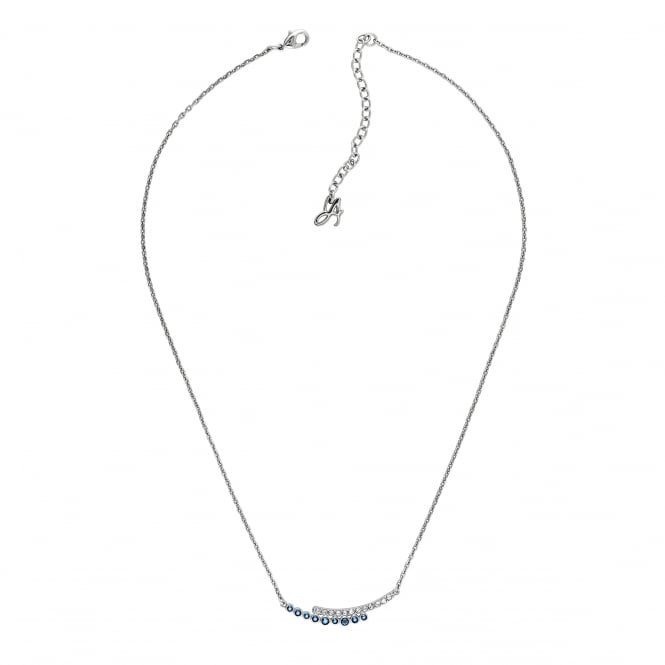 Silver Curved Bar White / Blue Necklace Created With Swarovski Crystals