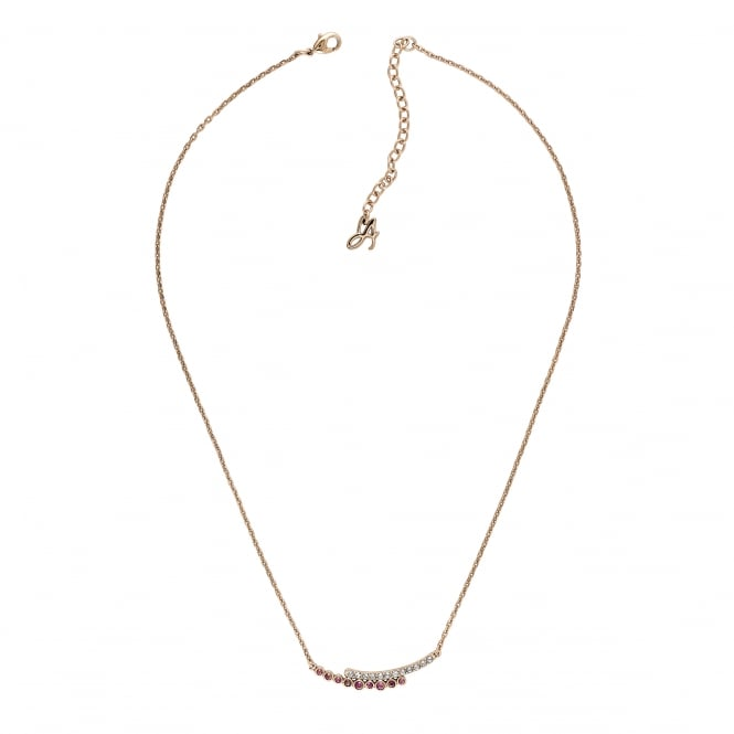 Gold Curved Bar White / Pink Necklace Created With Swarovski Crystals