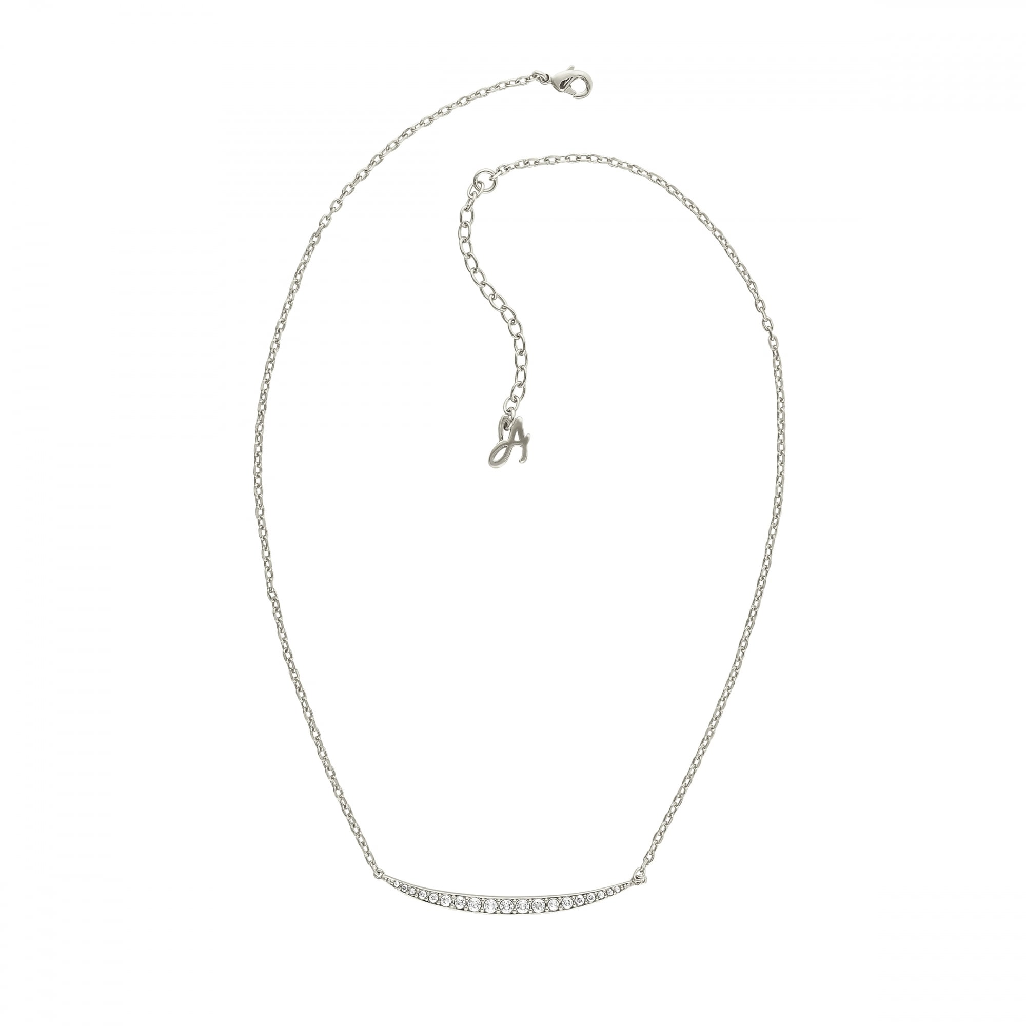 Adore Silver Curved Bar Necklace Created With Swarovski Crystals