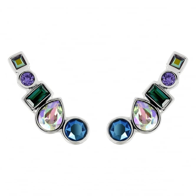 Silver Multi Shape Blue/ Green Ear Crawler Earring Created With Swarovski Crystals